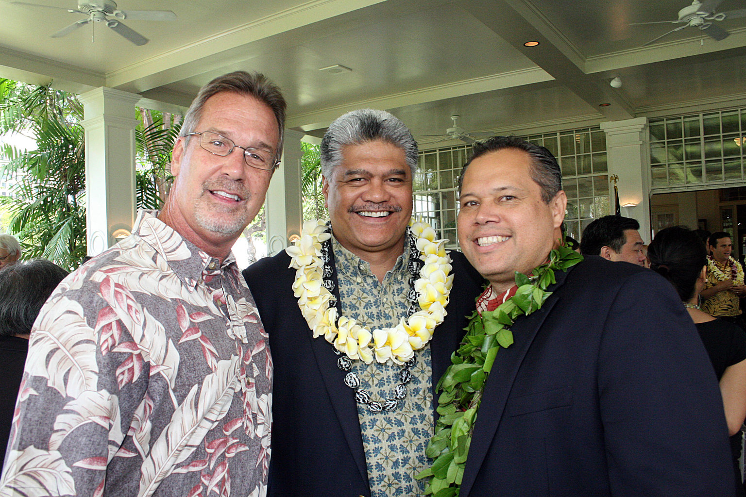 Harvey McInerny, Lunalilo Trustee, Dr. Kamana'opono Crabbe, Office of Hawaiian Affairs CEO, and Alapaki Nahale-a, Chairman, Hawaiian Homes Commission at today's signing of the $200m OHA settlement bill by Governor Abercrombie.