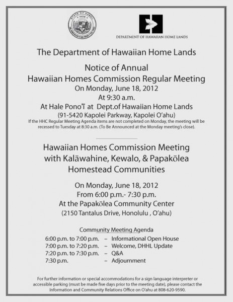 Papakolea community meeting flier