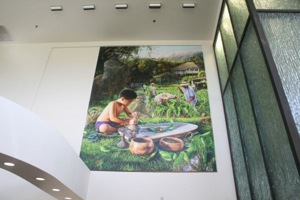 Leo Hone painting in lobby of Hawaiian Home Lands offices in Kapolei.