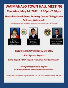 Waimanalo Town Hall Meeting flier May 24, 2012
