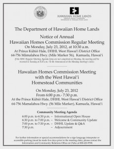 West Hawaii community meeting flier