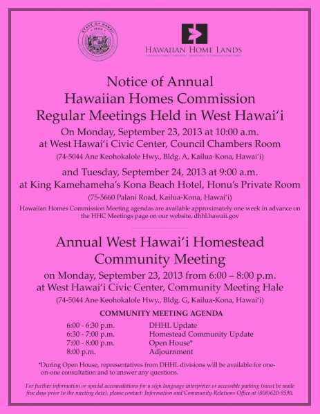 West Hawaii Community Meeting Flier 2013