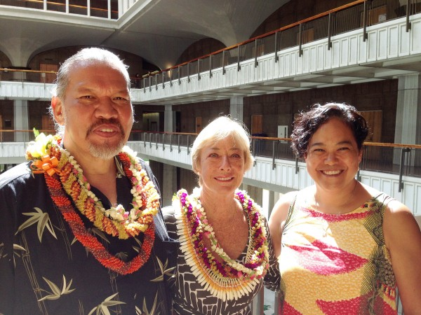 New Commissioners Wallace A. Ishibashi Jr., left, and Patricia A. Sheehan with Hawaiian Homes Commission Chair Jobie M.K. Masagatani.