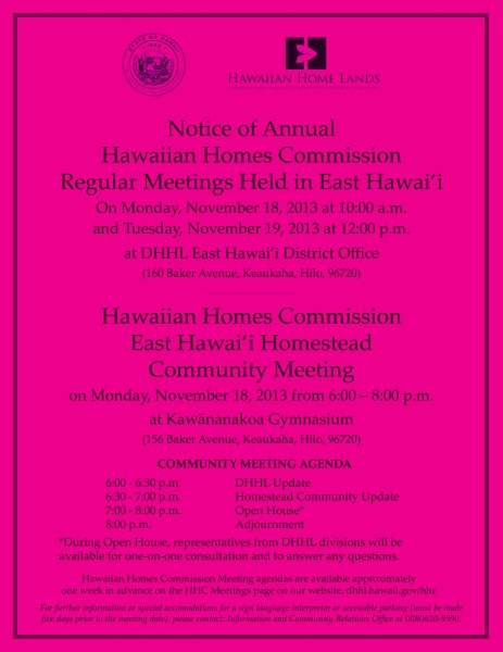 Nov. 2013 HHC Meetings