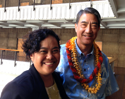 Mr. Bill Richardson, a Honolulu attorney and entrepreneur, brings years of legal experience and business acumen to the Hawaiian Homes Commission.  His term begins on July 1, 2014. He is shown here with Commission Chair Jobie Masagatani following his Hawaiian Affairs Committee confirmation hearing.
