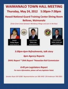 Waimanalo Town Hall Meeting flier May 24, 2012