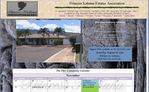 Screenshot of an estate webpage