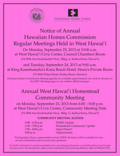 West Hawaii Community Meeting Flier 2013