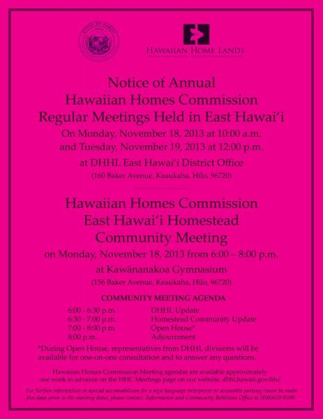 Nov. 2013 HHC Meetings