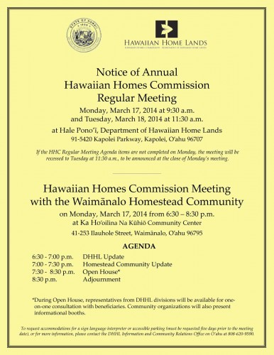 Waimanalo Community Meeting flier