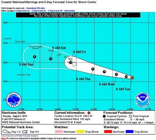 Hurricane Iselle Track