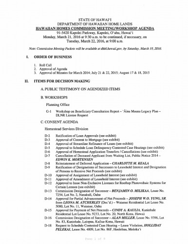 March 21 & 22, 2016 HHC Agenda
