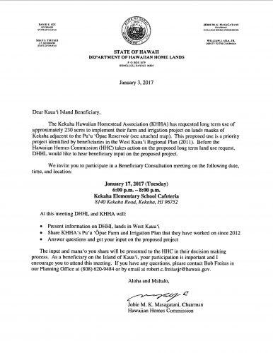 Puu Opae Consultation Notice Letter